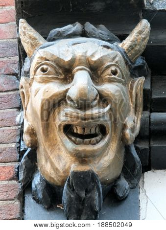 gargoyle devil face on a wall in york