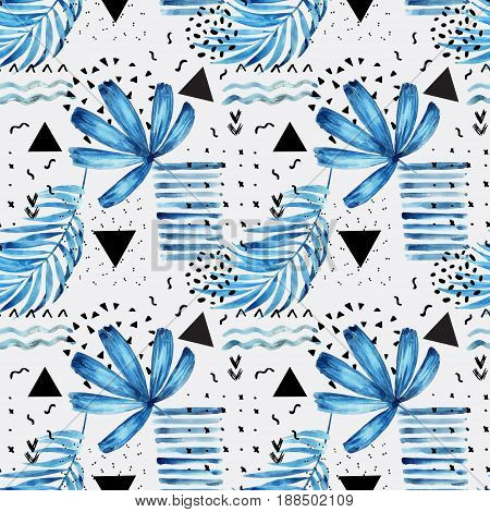 Watercolor artwork with graphic elements. Abstract minimal and floral background. Palm leaves seamless pattern. Hand painted natural illustration in marine colors