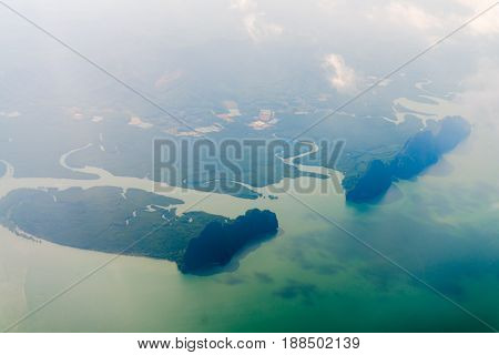 Aerial View Of Tropical Green Islands And Sea Bay
