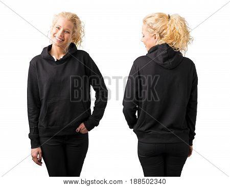 Woman in black blank hoodie on white background