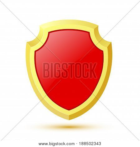 Single isolated on white background red shield. Vector illustration.