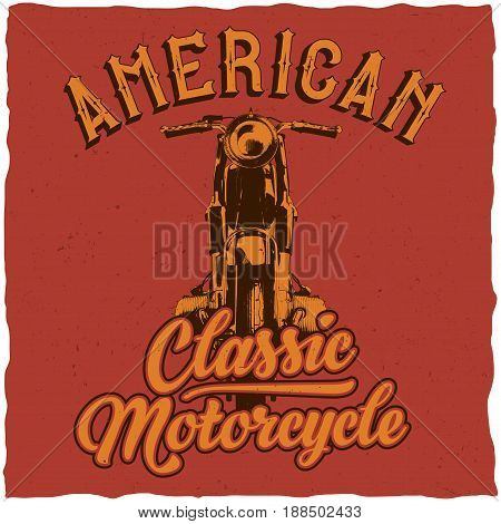Motorcycle t-shirt label design with illustration of classic motorcycle