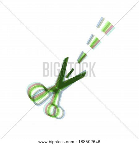 Scissors sign illustration. Vector. Colorful icon shaked with vertical axis at white background. Isolated.