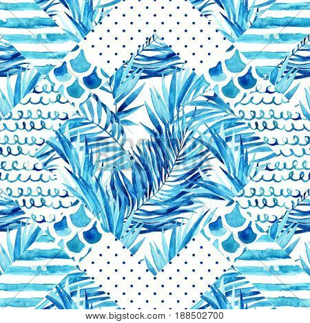 Abstract textured geometric seamless pattern: watercolor textures wave stripe scrawl tropical floral elements. Geometrical background with palm leaves in blue colors. Hand painted illustration