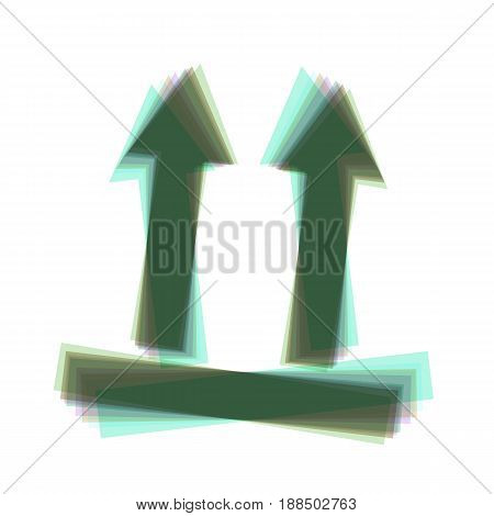 Logistic sign of arrows. Vector. Colorful icon shaked with vertical axis at white background. Isolated.