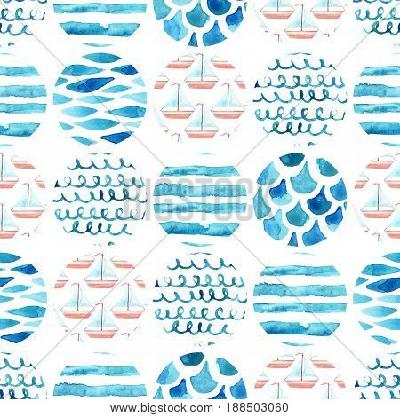 Abstract watercolor textured circles seamless pattern: water color textures sail boat pattern waves stripes squiggle. Geometric background in marine style. Hand painted nautical illustration