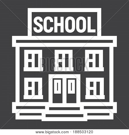 School building line icon, Education and architecture, vector graphics, a linear pattern on a black background, eps 10.