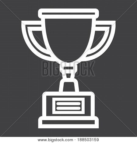 Trophy Cup line icon, winner and award, vector graphics, a linear pattern on a black background, eps 10.
