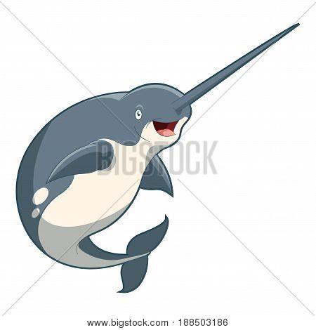 Vector image of the Cartoon smiling Narwhal