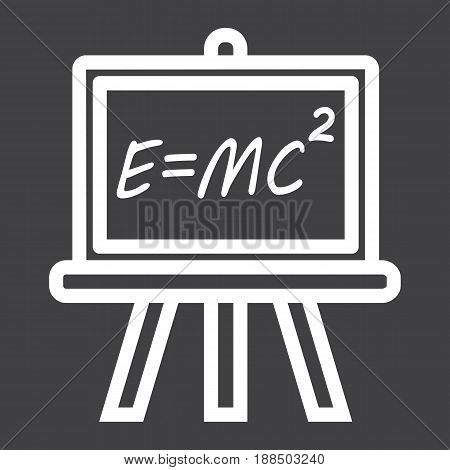 Blackboard line icon, chalkboard and school, vector graphics, a linear pattern on a black background, eps 10.