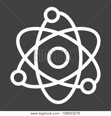 Atom line icon, Education and physics, vector graphics, a linear pattern on a black background, eps 10.