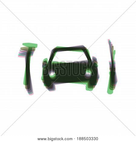 Car tire repair service sign. Vector. Colorful icon shaked with vertical axis at white background. Isolated.