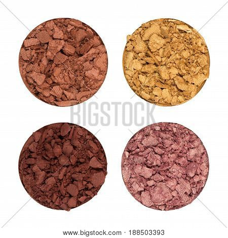 Close up Crushed eye shadows isolated on white
