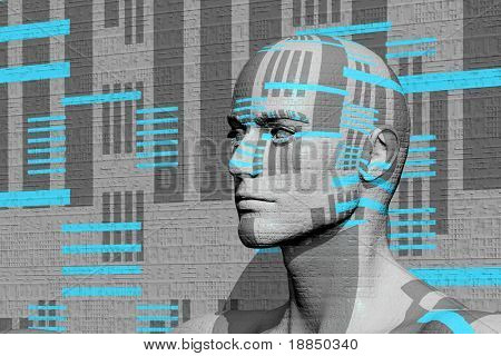 conceptual abstract graphic background 'homo-digitalis'