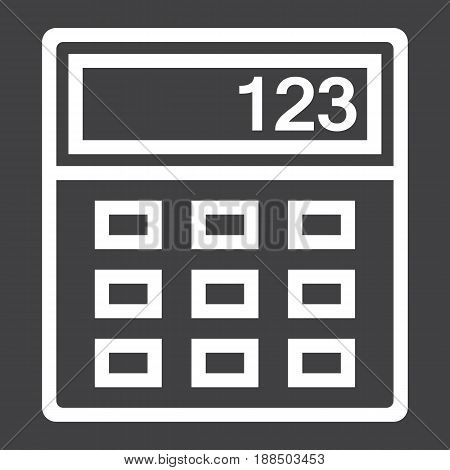 Calculator line icon, business and mathematics, vector graphics, a linear pattern on a black background, eps 10.