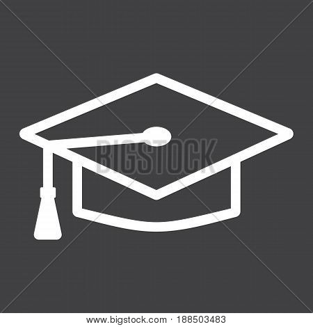 Graduation cap line icon, Education and knowledge, vector graphics, a linear pattern on a black background, eps 10.