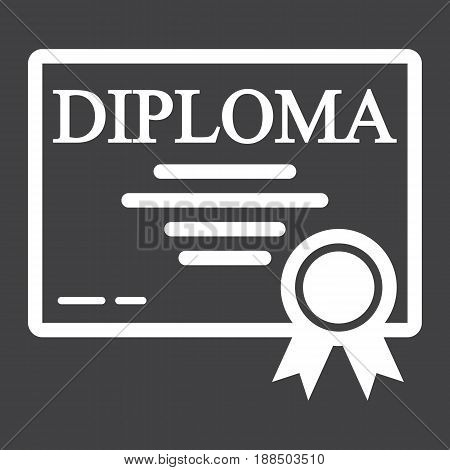 Diploma line icon, Education and certificate, graduation vector graphics, a linear pattern on a black background, eps 10.