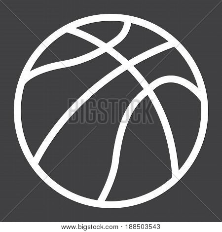 Basketball ball line icon, sport and game, vector graphics, a linear pattern on a black background, eps 10.