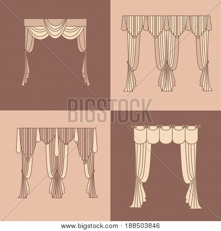 curtains and draperies interior decoration design ideas realistic icons collection isolated vector illustration