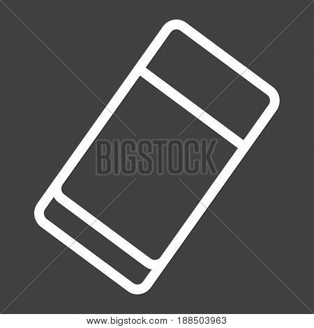 Eraser line icon, education and school, rubber vector graphics, a linear pattern on a black background, eps 10.
