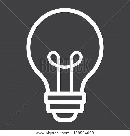 Light Bulb line icon, lamp and idea, light vector graphics, a linear pattern on a black background, eps 10.