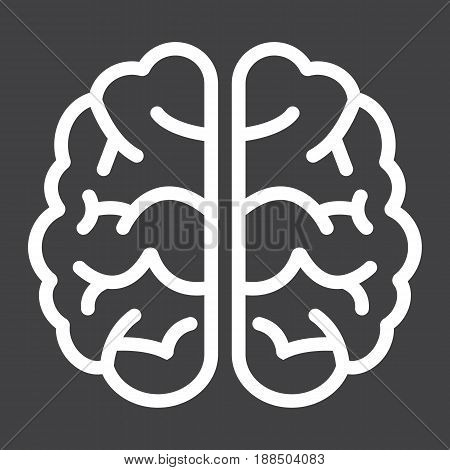 Brain line icon, brainstorm and idea, medical vector graphics, a linear pattern on a black background, eps 10.