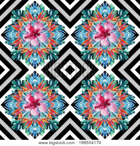 Watercolor tropical leaves and flowers arrangement on geometrical background. Symmetrical mirrored water color exotic floral seamless pattern. Hand painted colorful natural illustration