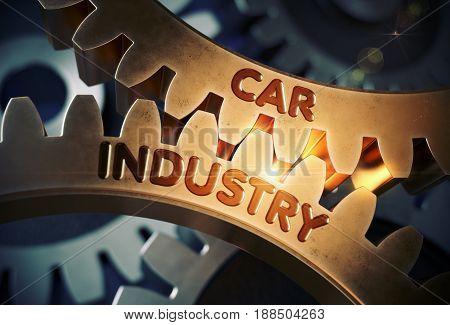 Golden Metallic Gears with Car Industry Concept. Car Industry on the Mechanism of Golden Metallic Cog Gears with Glow Effect. 3D Rendering.