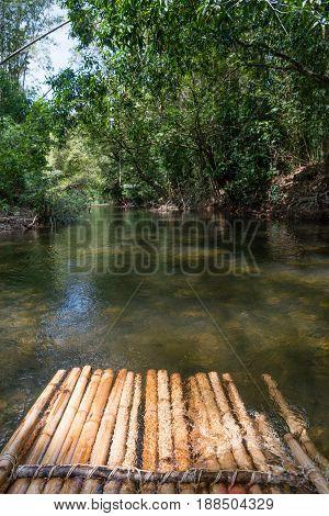 Bamboo Rafting In Green Tropical Scenery