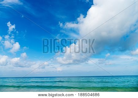 Clear Blue Sea Ocean With Horizon And Blue Sky