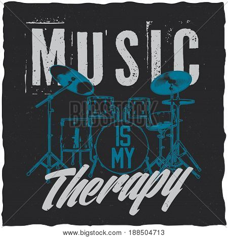Drums in music theme t-shirt label design with illustration of vector 3d drums