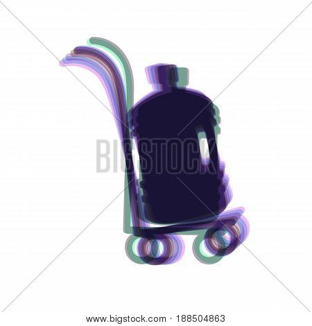 Plastic bottle silhouette with water. Big bottle of water on track. Vector. Colorful icon shaked with vertical axis at white background. Isolated.
