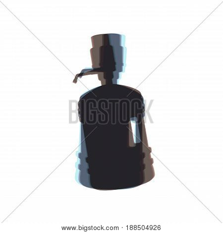 Plastic bottle silhouette with water and siphon. Vector. Colorful icon shaked with vertical axis at white background. Isolated.