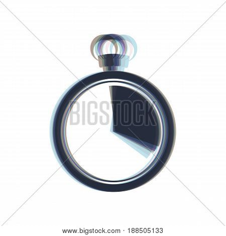 The 20 seconds, minutes stopwatch sign. Vector. Colorful icon shaked with vertical axis at white background. Isolated.