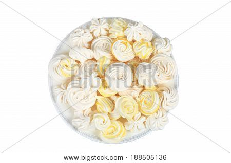 Sweet multicolored homemade meringue isolated on white background