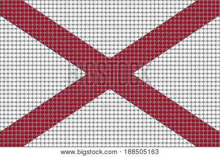 Mosaic flag of Alabama with effect - 3D Illustration