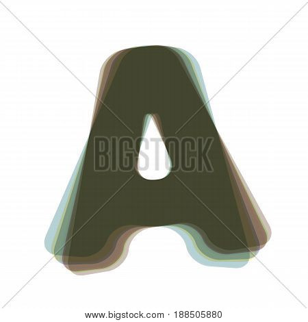Letter A sign design template element. Vector. Colorful icon shaked with vertical axis at white background. Isolated.