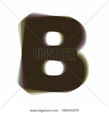 Letter B sign design template element. Vector. Colorful icon shaked with vertical axis at white background. Isolated.