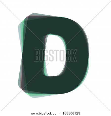 Letter D sign design template element. Vector. Colorful icon shaked with vertical axis at white background. Isolated.