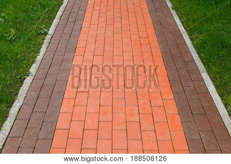 walking path the pavement of red and brown clinker brick