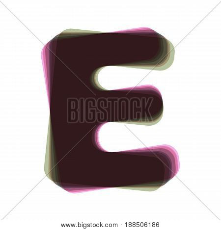 Letter E sign design template element. Vector. Colorful icon shaked with vertical axis at white background. Isolated.