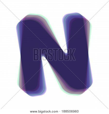 Letter N sign design template element. Vector. Colorful icon shaked with vertical axis at white background. Isolated.