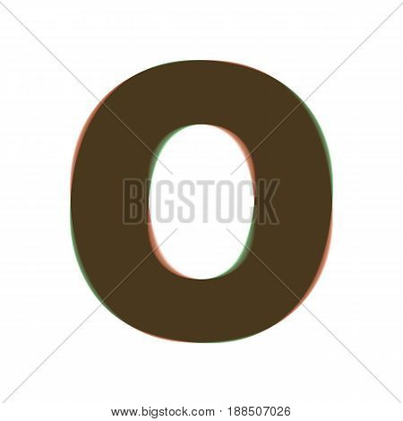 Letter O sign design template element. Vector. Colorful icon shaked with vertical axis at white background. Isolated.