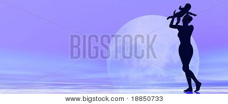 digitally created conceptual 3D background showing the silhouette of a young and happy mother lifting up her baby