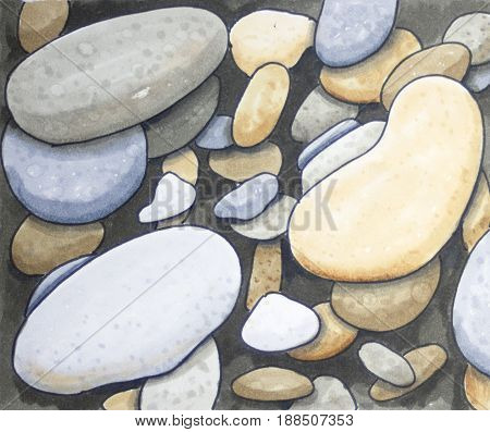 Pebble stone texture hand drawn square background