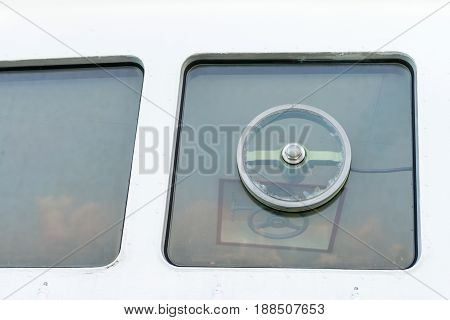 Window Of Captain's Bridge On The Big Ship