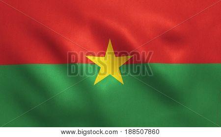Burkina Faso flag with fabric texture. 3D illustration.