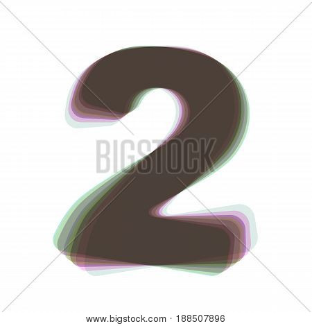 Number 2 sign design template elements. Vector. Colorful icon shaked with vertical axis at white background. Isolated.