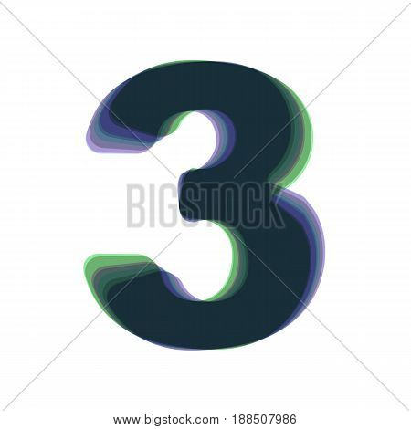 Number 3 sign design template element. Vector. Colorful icon shaked with vertical axis at white background. Isolated.
