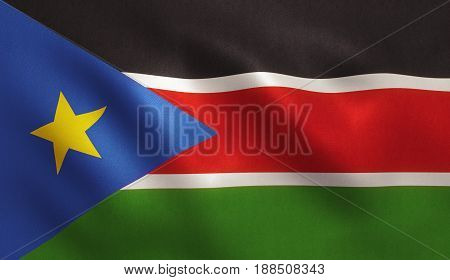 South Sudan flag with fabric texture. 3D illustration.